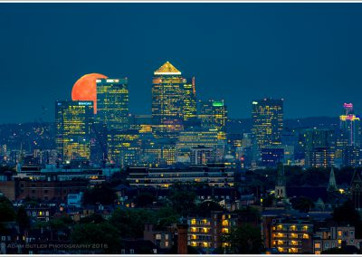 Moon Rising over Canary Wharf