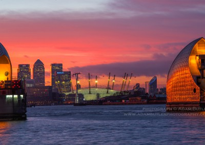 Red Sky, Thames Barrier, O2 Arena and Canary Wharf