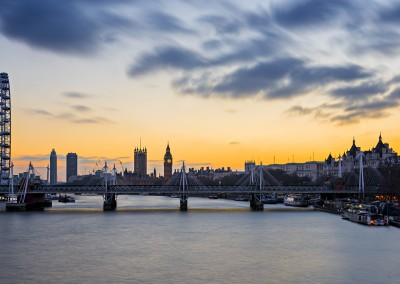 Hungerford Bridge, London Eye and Parliament at Sunset