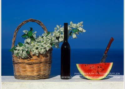 Basket, Bottle and Watermelon