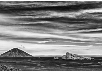 Stromboli and Basiluzzo Panorama, BW