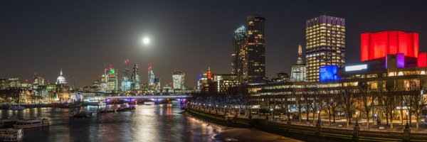 South Bank at Night with Full Moon