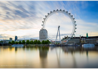 The London Eye and the South Bank at Dawn.