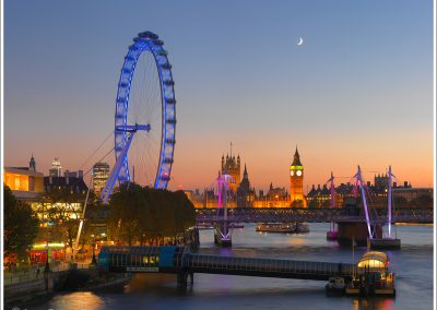 Sunset with Crescent Moon over Parliament with London Eye