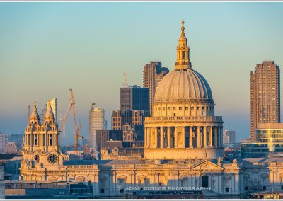 The Dome of St Paul's at sunset