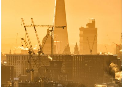 Sunrise with the Shard and St Pauls. And cranes...