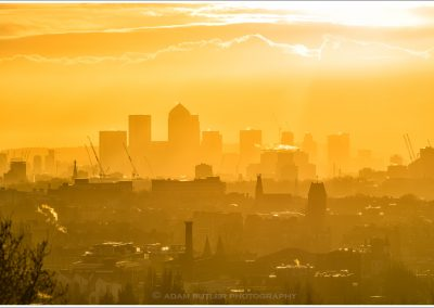 Golden over North London towards Canary Wharf