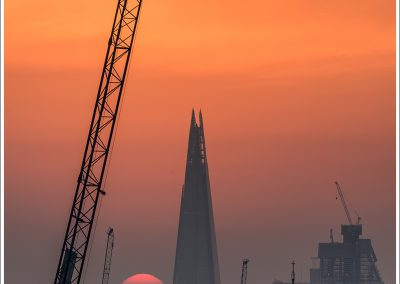 Sunrise with the Shard and crane