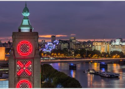 Tower of Oxo Building with River Thames