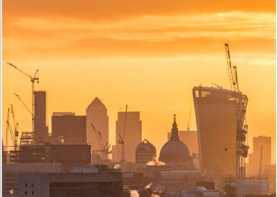 Orange sky, St Paul's and The City Skyscrapers