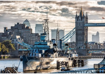 Early morning on the Thames with HMS Belfast and Tower Bridge