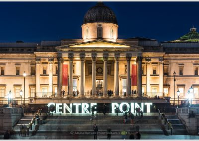 Centre Point sign in front of National Gallery