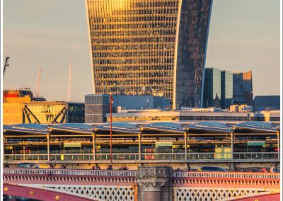 20 Fenchurch St reflecting the last rays with Blackfriars Bridge