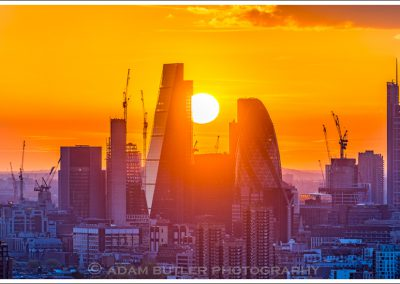 Sunset over The City from East London