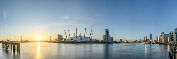O2 Arena and Sunrise on the River Thames