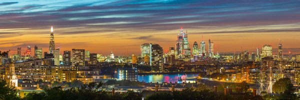 London from Greenwich, Evening