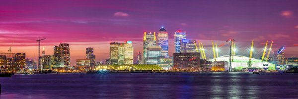 Panoramic View towards Canary Wharf and the O2 Arena at Dusk