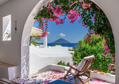 Deckchair, Arch and Bougainvilleas